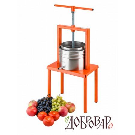 Пресс винный фруктово-ягодный напольный 5 л (метрическая резьба) Добровар